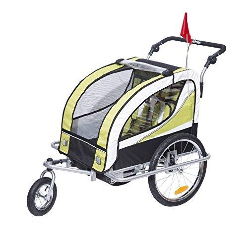 homcom kinderanhaenger 2 in 1 anhaenger fahrradanhaenger jogger 360 drehbar fuer 2 kinder gruen schwarz - HOMCOM Kinderanhänger 2 in 1 Anhänger Fahrradanhänger Jogger 360° Drehbar für 2 Kinder Grün-Schwarz