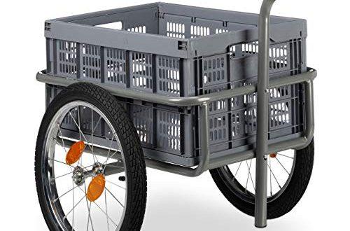 512Zo7r7PYL 500x330 - Relaxdays Lastenanhänger, 2in1 Fahrradanhänger & Handwagen, faltbare Transportbox, mit Kugelkupplung, bis 50kg, grau